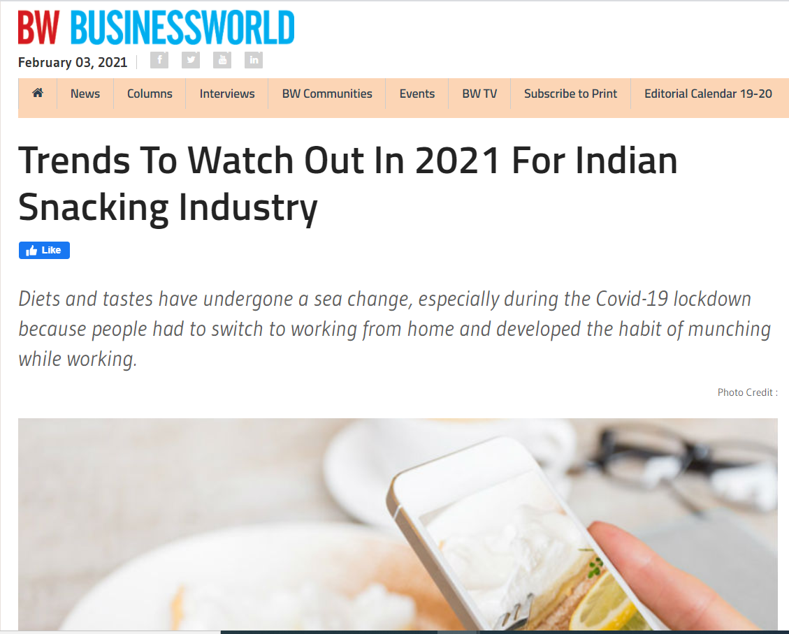 Trends To Watch Out In 2021 For Indian Snacking Industry