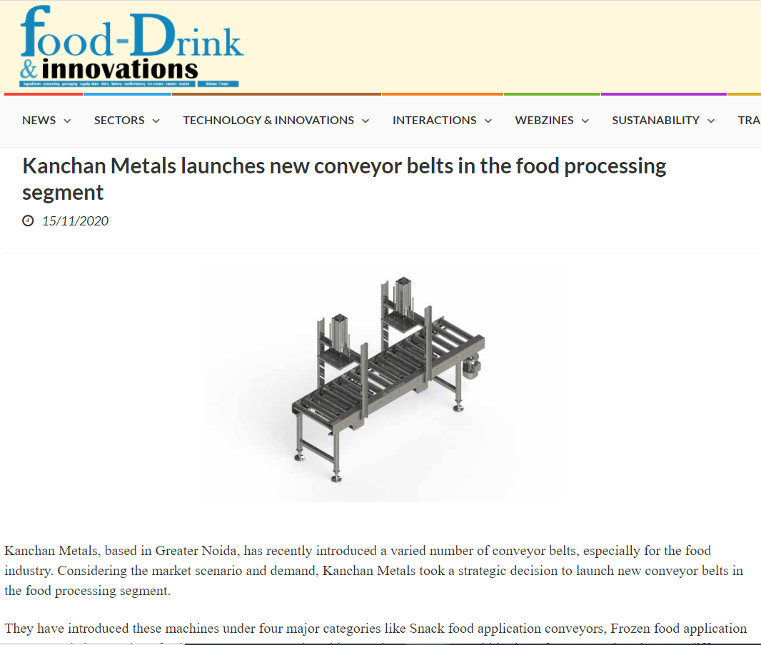 Kanchan Metals launches new conveyor belts in the food processing segment