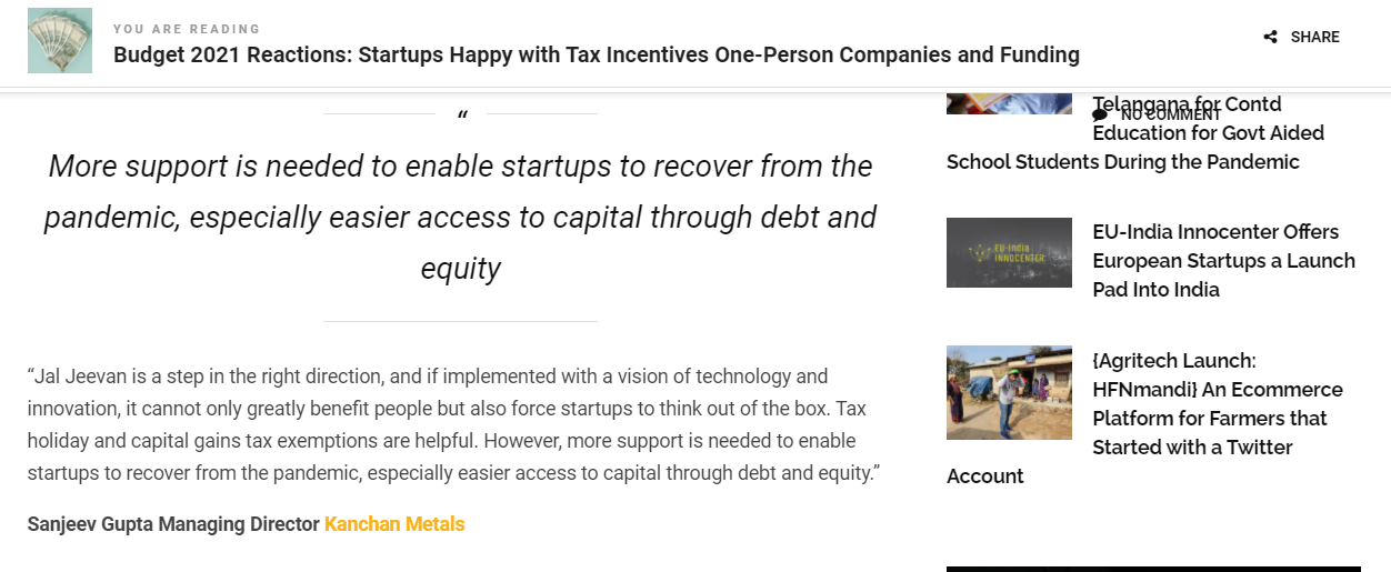 More support is needed to enable startups to recover..