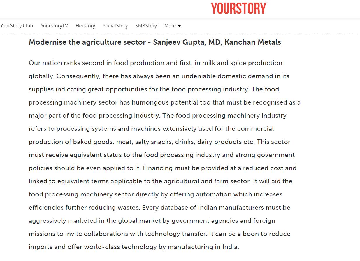 Modernize the agriculture sector – Sanjeev Gupta, MD, Kanchan Metals
