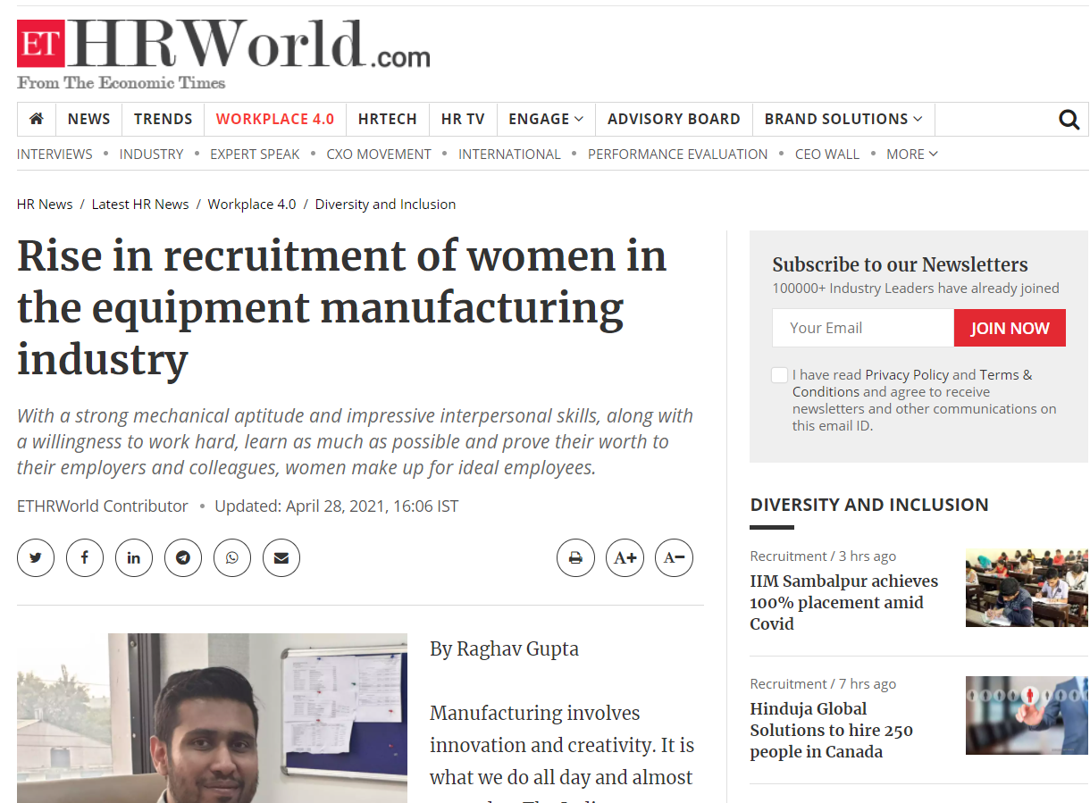 Rise in recruitment of women in the equipment manufacturing industry