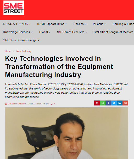 Key Technologies Involved in Transformation of the Equipment Manufacturing Industry